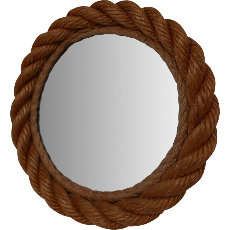 Vintage Audoux et Minet Small Rope Mirror, French 1960s