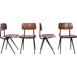 """Set of 4 Ahrend """"Result"""" chairs in birch plywood and steel, Friso KRAMER - 1960s"""