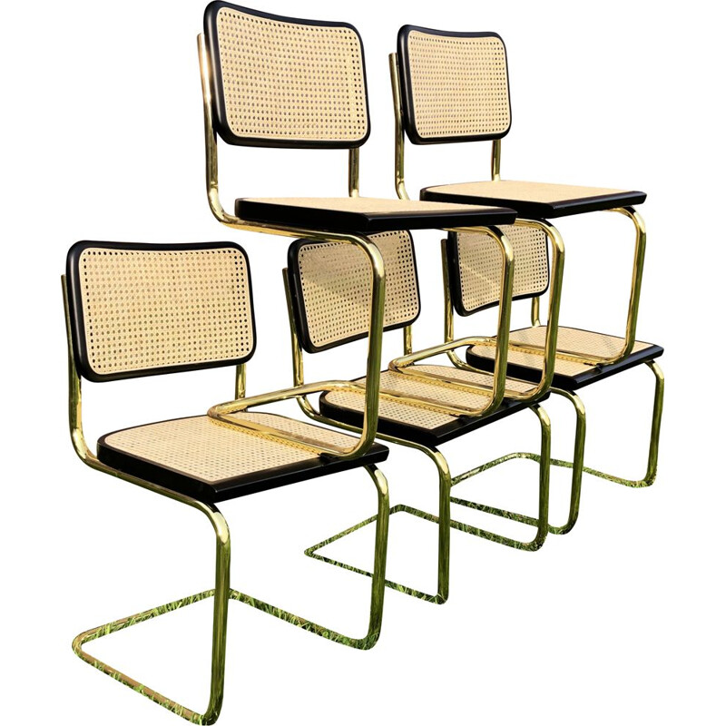 Set of 5 vintage Cesca B32 chairs by Marcel Breuer
