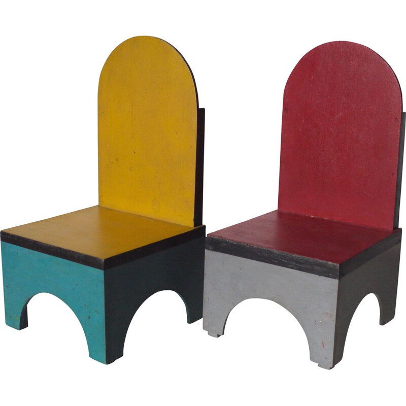 Pair of vintage Children's Chairs by Ko Verzuu for ADO 1930s