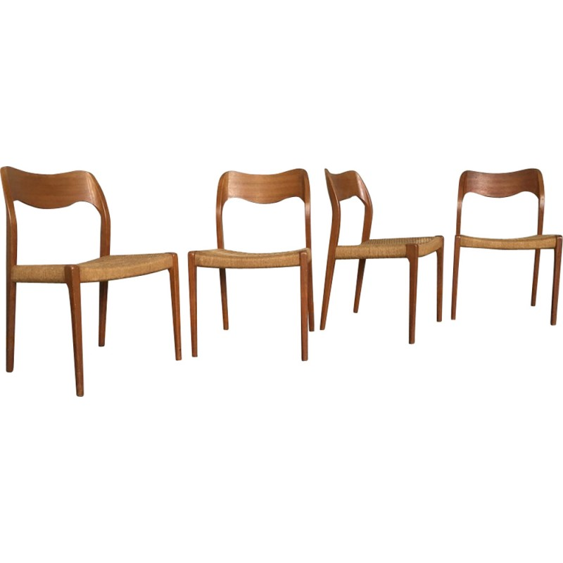Set Of Four JL Moller Chairs In Teak Wood, Niels O.MOLLER   1960s