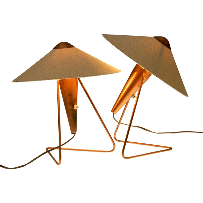 Pair of Okolo table lamps in parchment and copper, Helena FRANTOVÁ - 1950s
