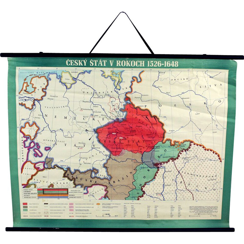 Vintage School Map Of Czech State, Czechoslovakia 1960s