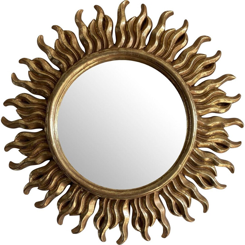 Vintage Golden Sun Mirror 1960s