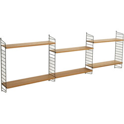 Mid-century String shelving system in elm wood and metal, Nisse STRINNING - 1960s