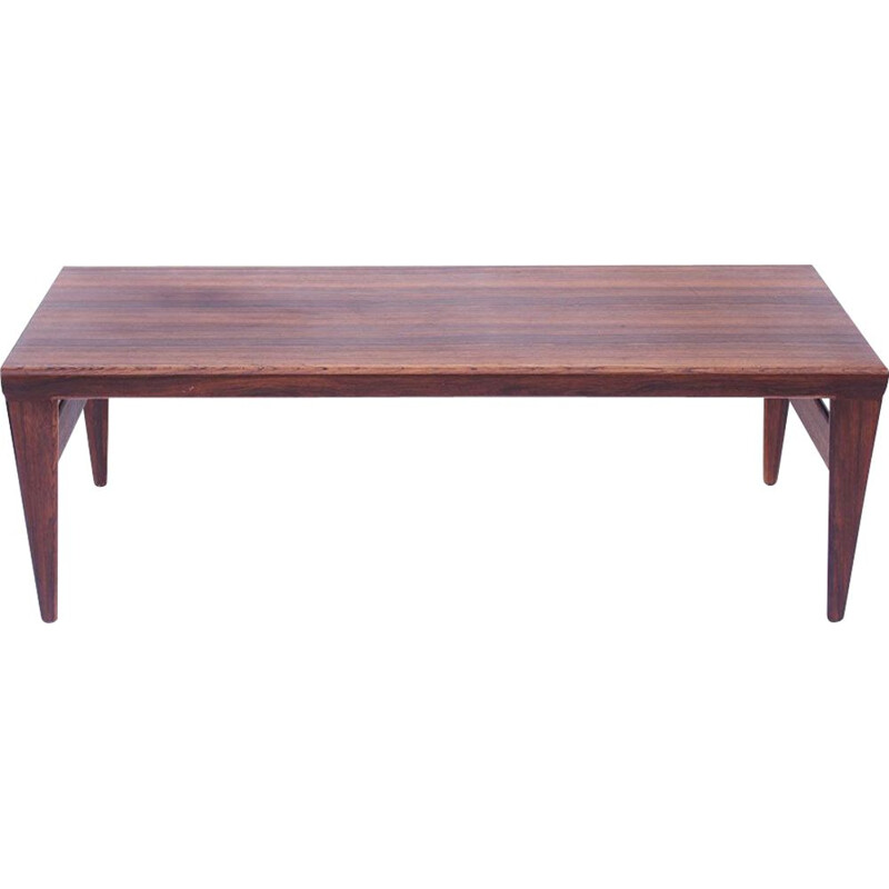 Large coffee table Scandinavian Rio rosewood, 2 extensions Illum Wikkelso Danish 1950