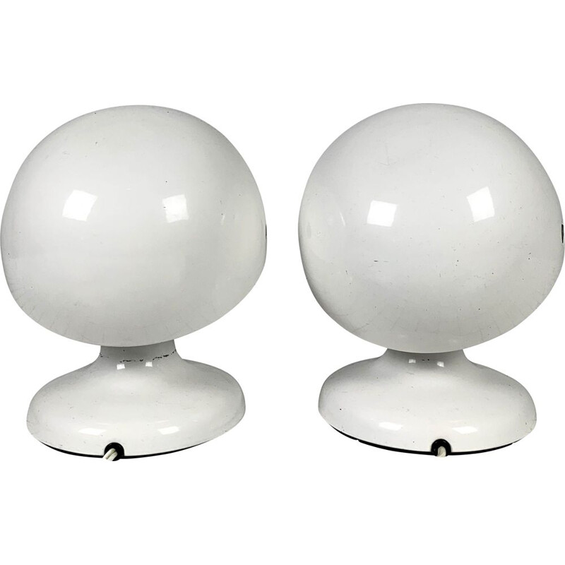 Pair of vintage White Jucker 147 Table Lamps by Tobia & Afra Scarpa for Flos, 1960s