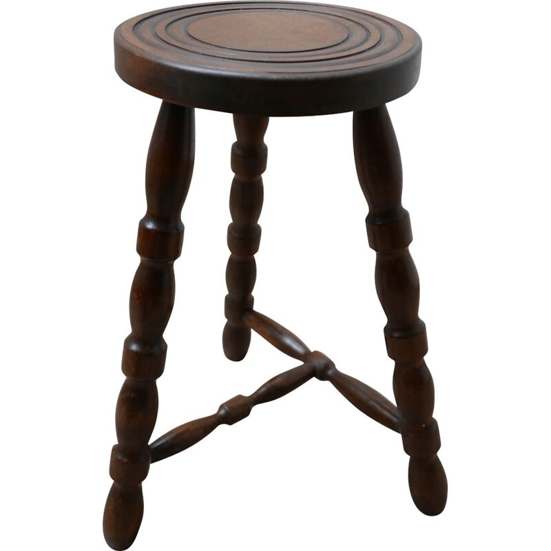 Mid-Century Bobbin Stool or Side Table French 1950s