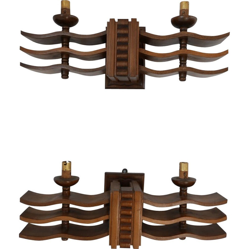 Pair of Vintage Wall Lights in Manner of Dudouyt Art Deco French 1940s