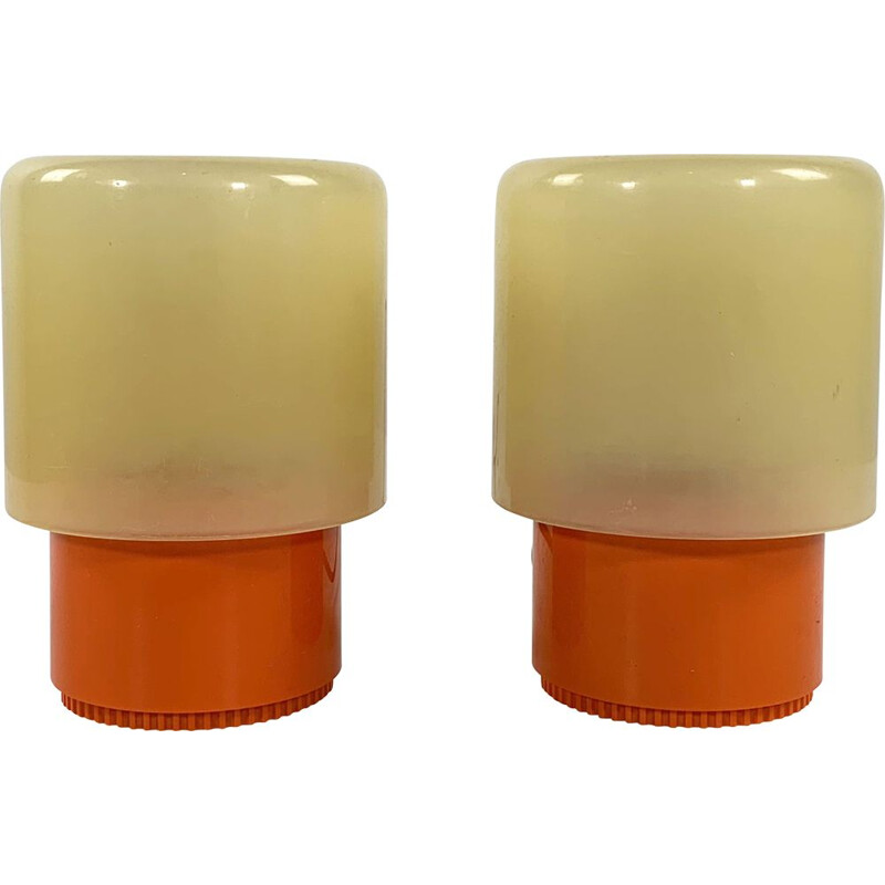 """Pair of vintage KD32 """"Tic Tac"""" Table Lamps by Giotto Stoppino for Kartell, 1970s"""