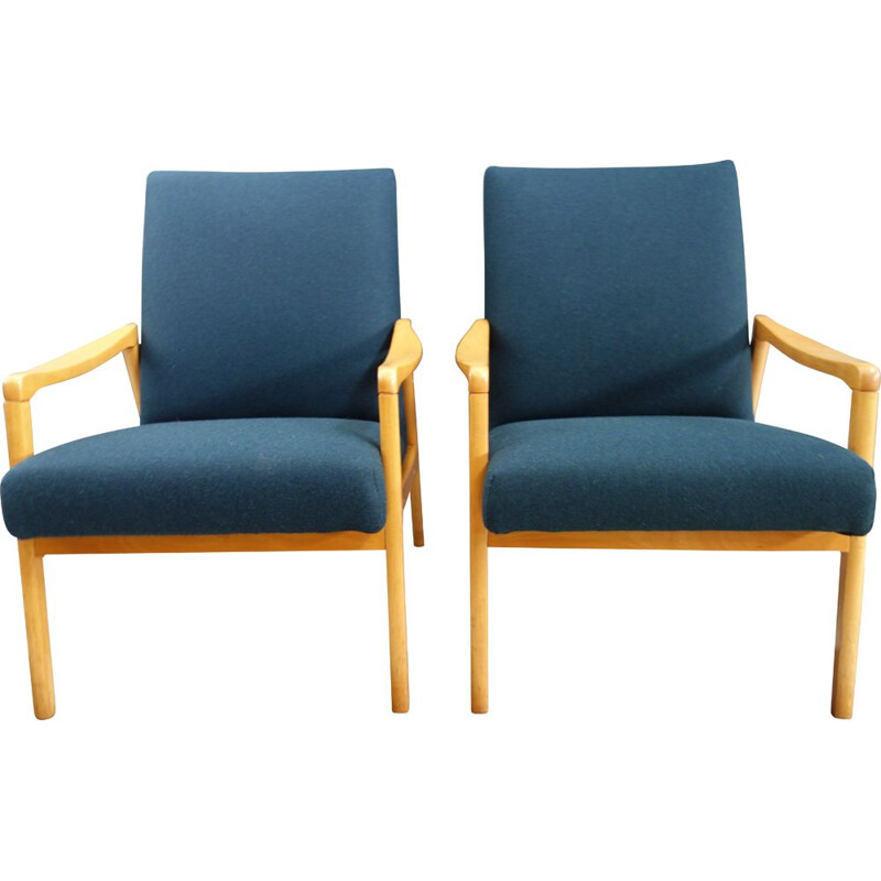 Pair of vintage chairs  Jiroutek Petrol color 1960s