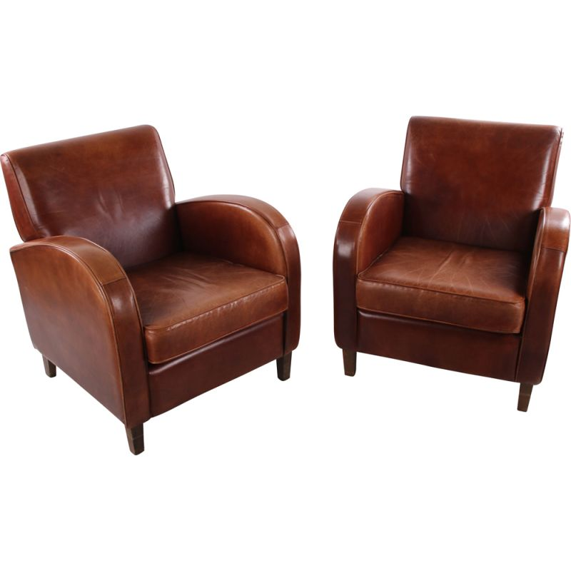 Vintage pair of  Sheep leather Club armchair 1970s model wagon wheel 1970s