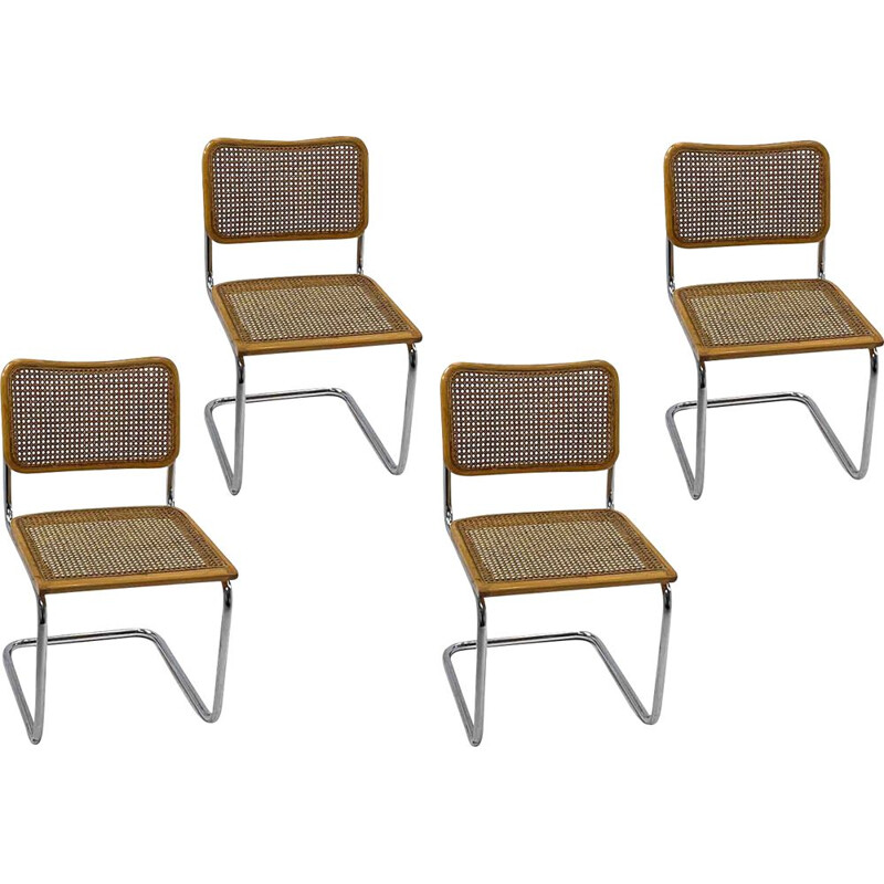 Set of 4 vintage Cesca B32 beige chairs, Marcel Breuer Italy