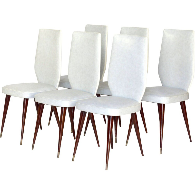 Set of 6 Vintage Dining Chairs in the Style of Vittorio Dassi,Italian 1950s