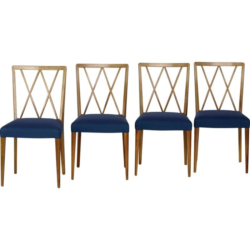 Set of 4 Vintage Walnut Dining Chairs by A. A. Patijn for Zijlstra Joure, 1950s