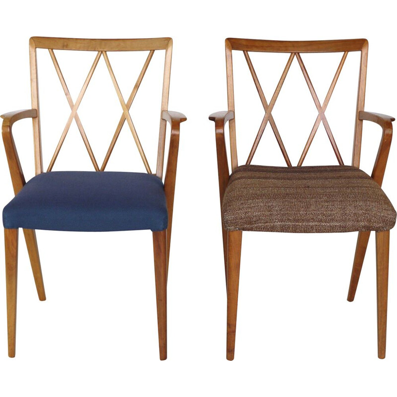 Pair of Vintage Walnut Carver Dining Chairs by A. A. Patijn for Zijlstra Joure, 1950s