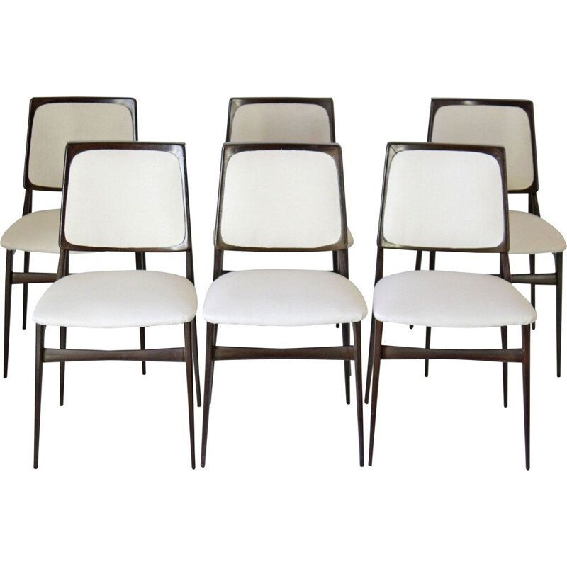 Set Of 6 Vintage Dining Set Chairs By Vittorio Dassi 1960s
