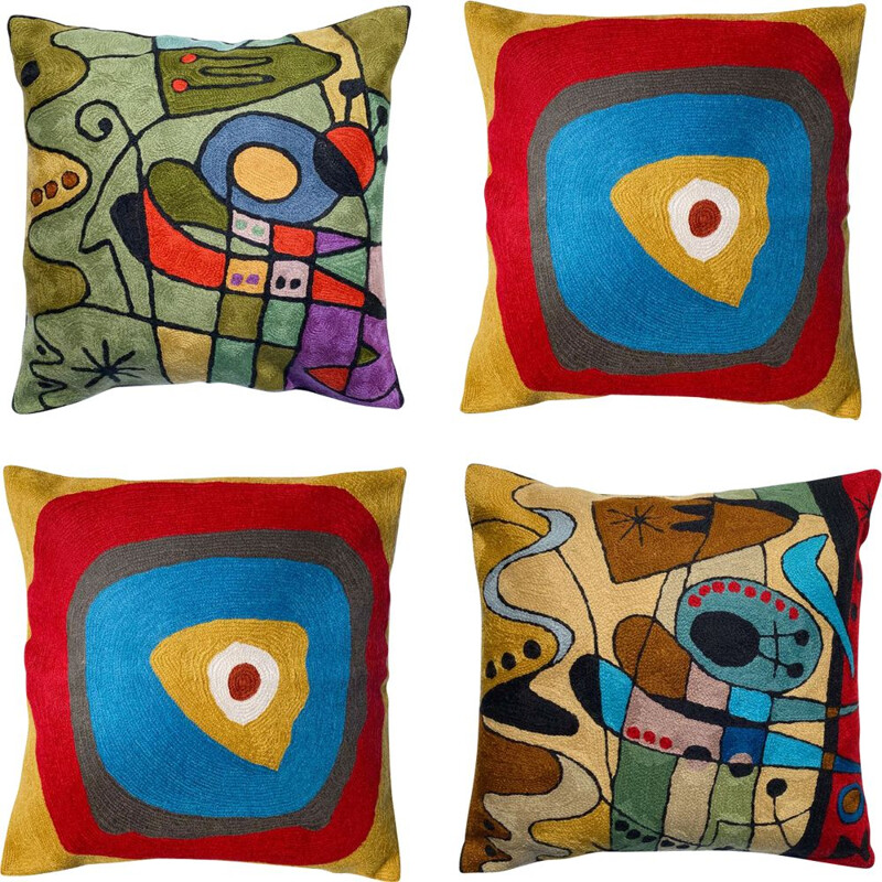 Set of 4 vintage multicoloured wool cushions with embroidered abstract motifs