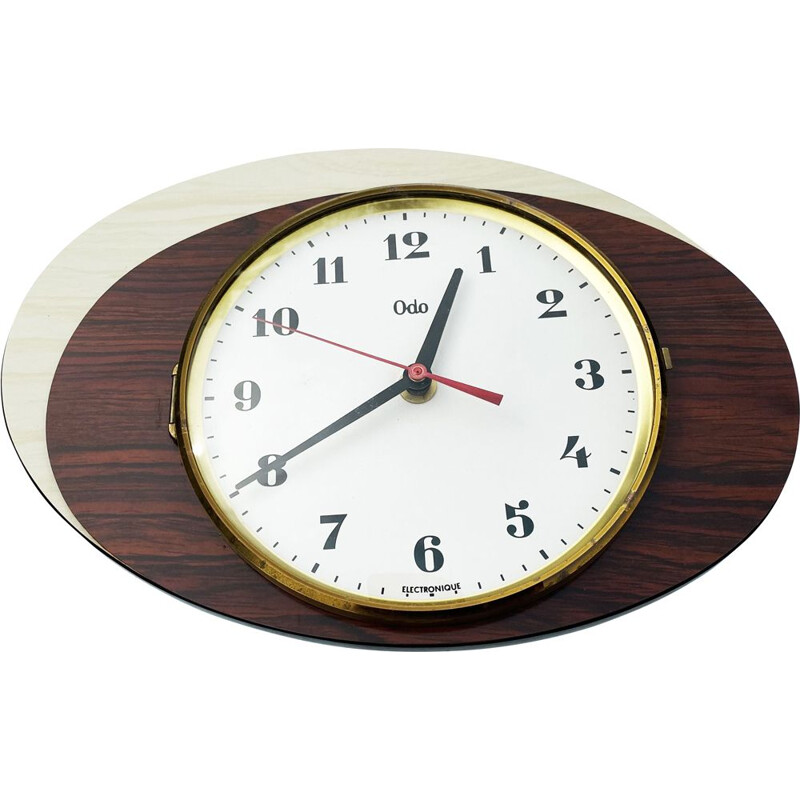 Vintage formica double ellipse wall clock, France 1960s