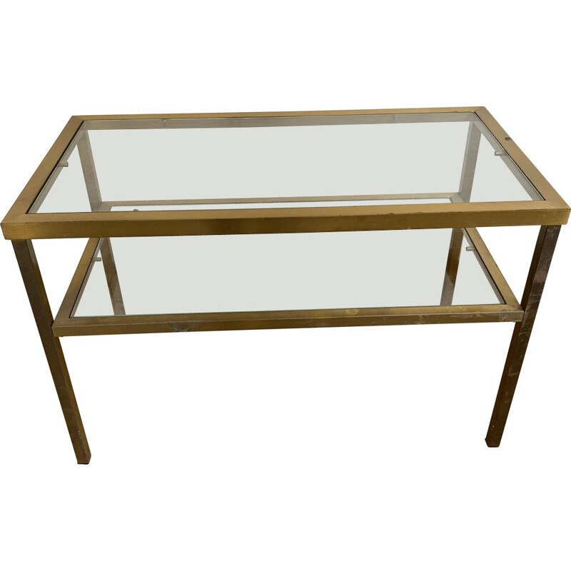 vintage coffee table in gilded metal and glass