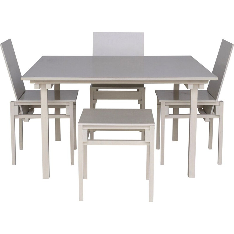 Set of vintage dining Table & Chairs in the style of Gerrit Rietveld 1980s