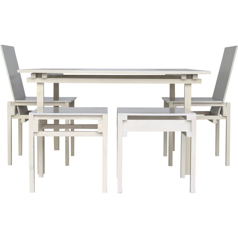 Vintage Dining Table & Chairs set in the style of Gerrit Rietveld 1980s