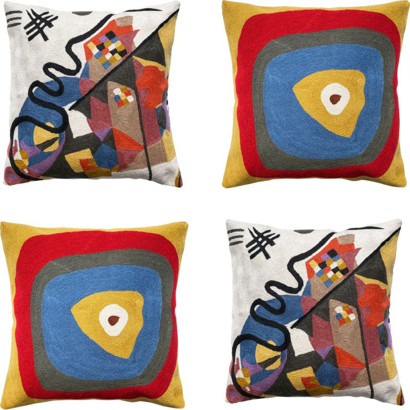 Set of 4 vintage Multicoloured Wool Cushion Covers with Abstract Embroidery