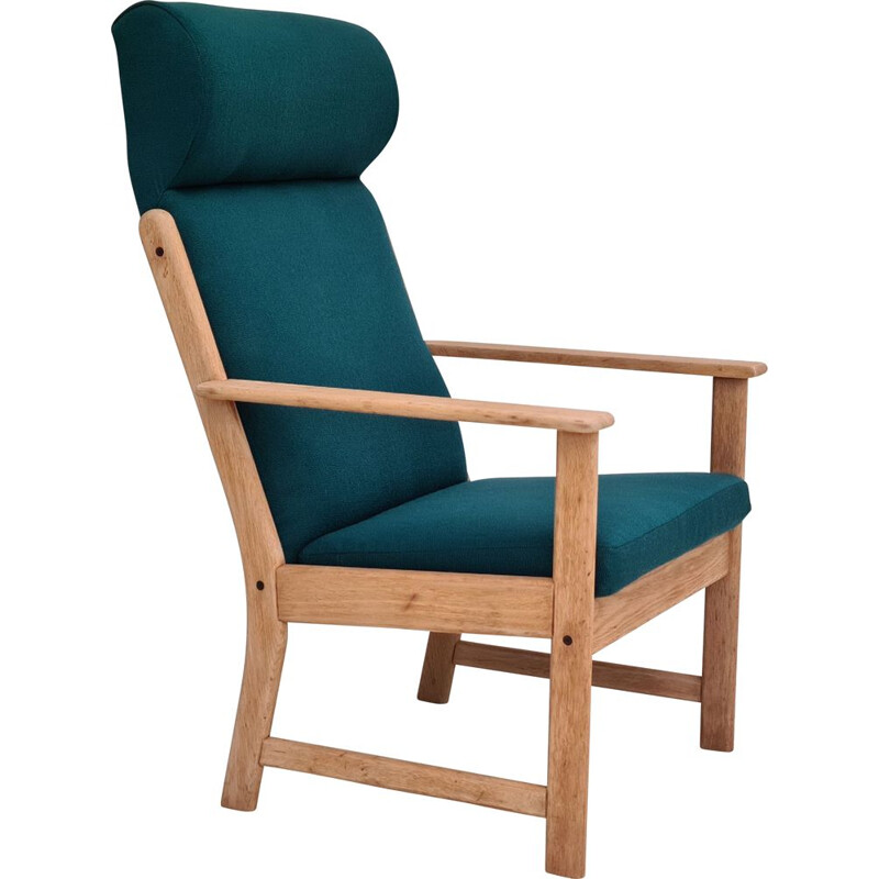 Vintage armchair furniture wool oak high-backed by Jorgen Bækmark for FDB, Danish 1970s