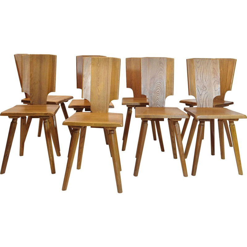 Set of 8 vintage chairs by Pierre Chapo