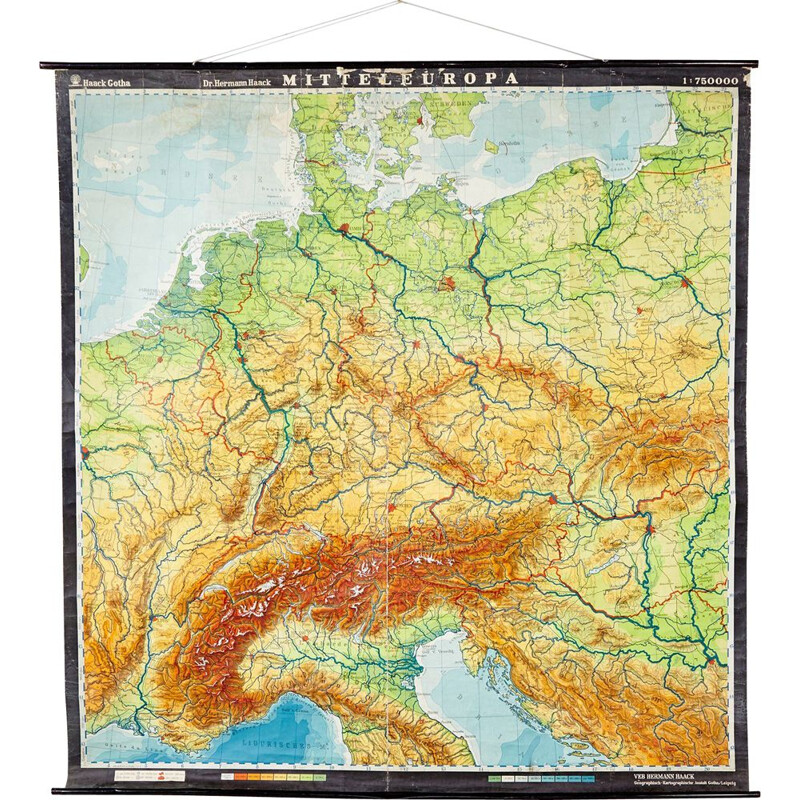 Vintage Map of Central Europe from VEB Hermann Haack, German 1970s