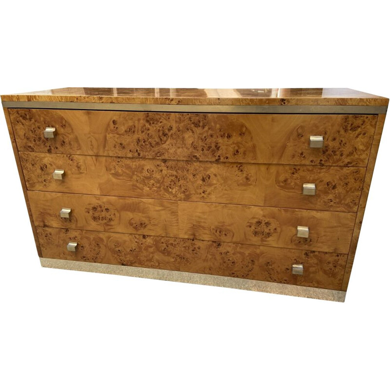 Vintage 4 drawer chest of drawers Loupe d'amboine by Willy Rizzo 1970s