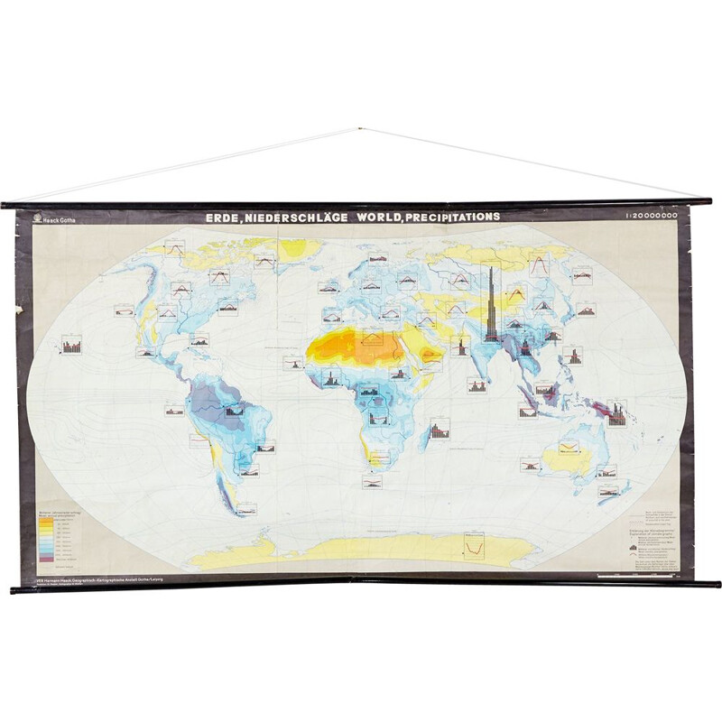 Vintage Precipitation Map of the Earth from Dr. Haack, German 1970s