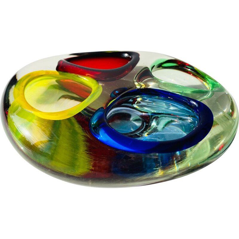 Vintage ashtray in Murano glass, 4 compartments, Italy 1970s