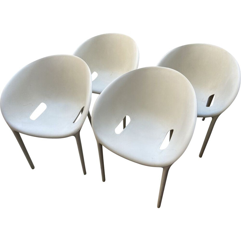 "Set of 4 vintage ""Soft Egg"" armchairs by Philippe Starck, Italy 2005s"