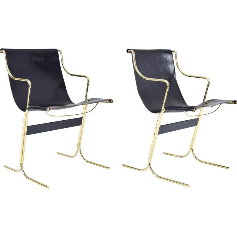 Pair of vintage Leather and Brass Cigno Chairs by Ross Littell and Kelly to Padova, Italy