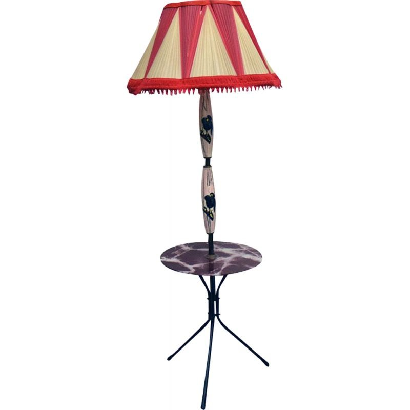 Vintage Ceramic floor lamp with table and original lampshade 1950s