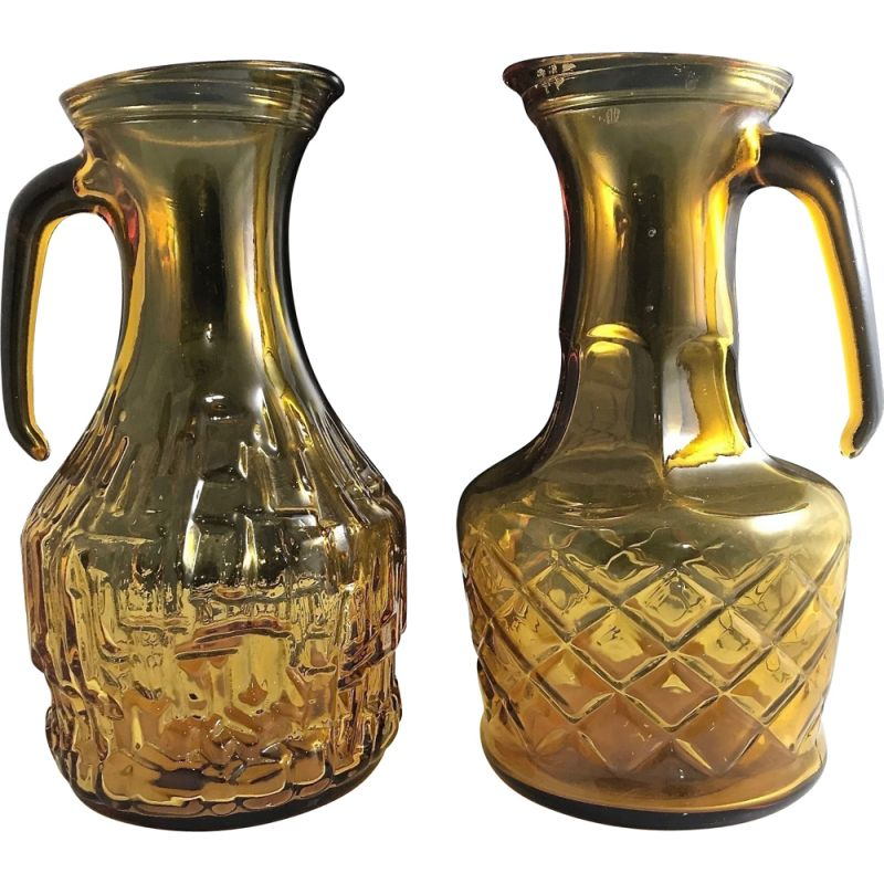 Pair of vintage Hand Moulded Decanters