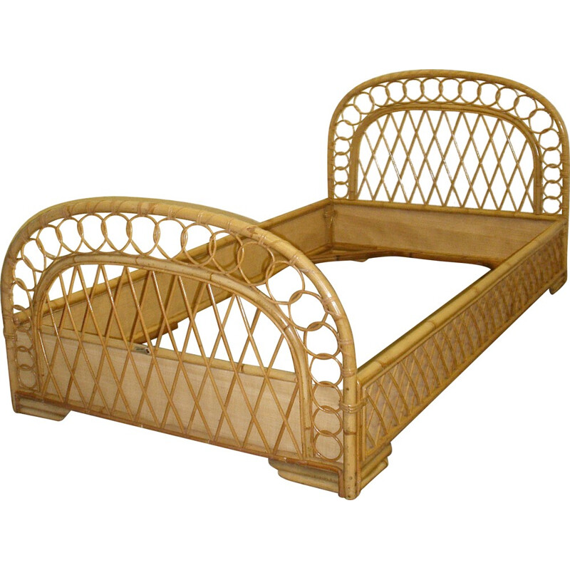 Mid century modern bed in rattan and metal - 1950s