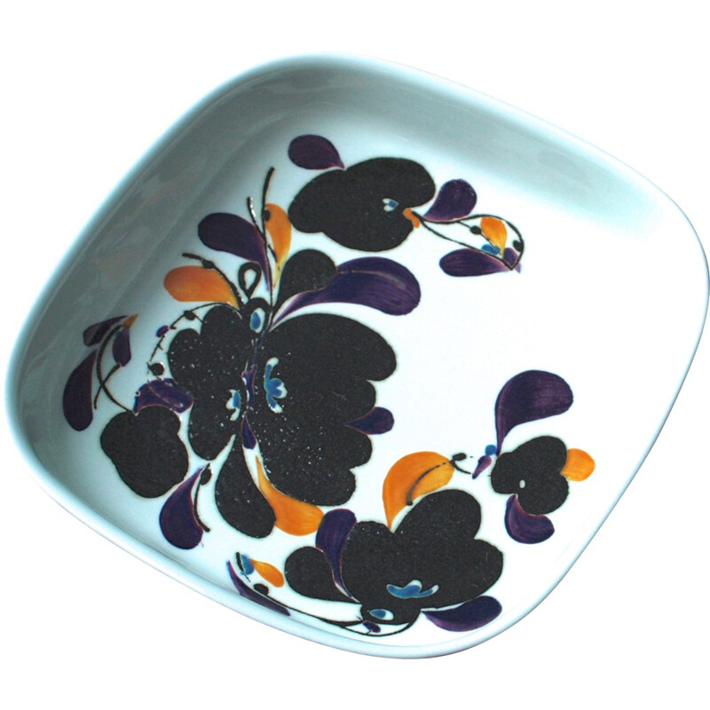 Square ceramic Royal Copenhagen plate with flower patterns, Ivan WEISS - 1970s