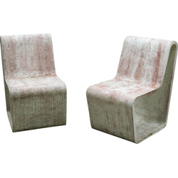 Pair of garden chairs in concrete - 1970s