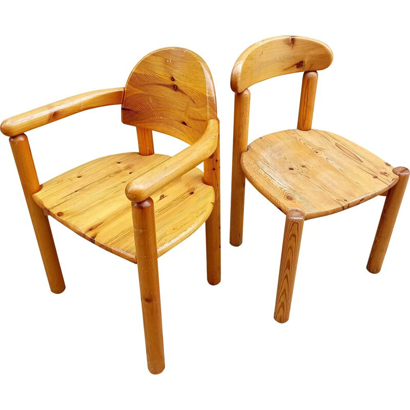 Pair of vintage chairs in pine from Rainer Daumiller, Denmark 1970s