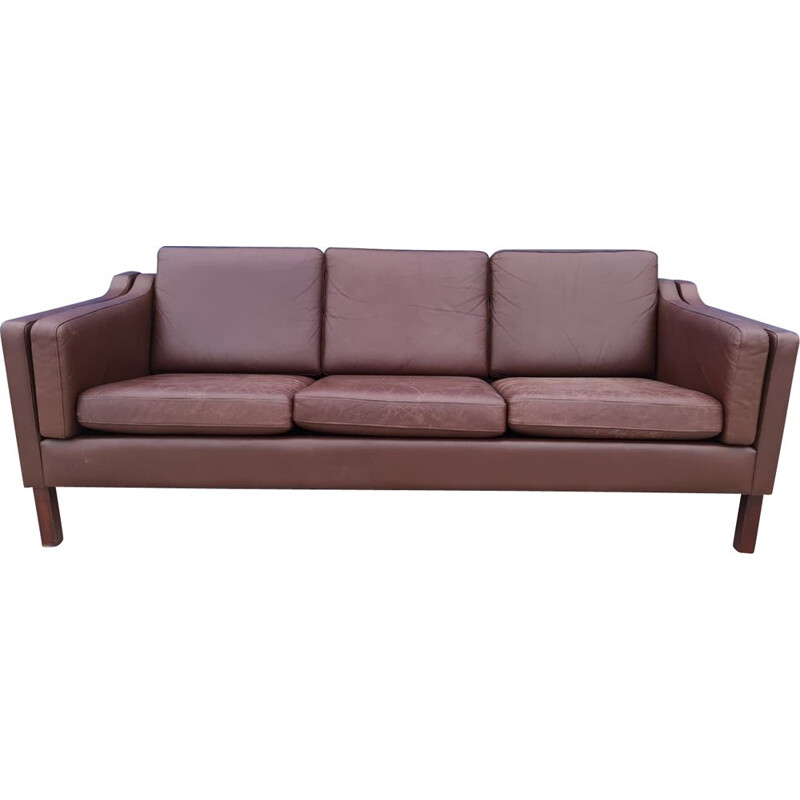 Vintage three seater brown leather sofa, Danish