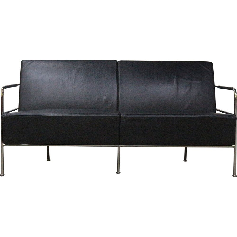 Vintage Leather & chrome sofa by Gunilla Allard, Sweden 1994s