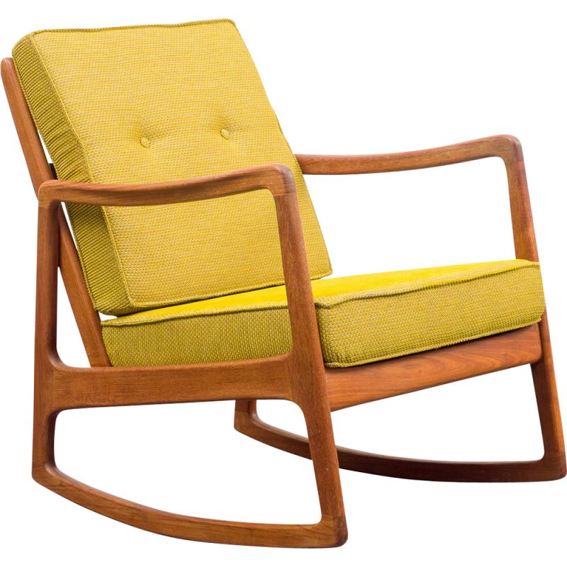 Vintage rocking chair by Ole Wanscher for France & Son 1960s
