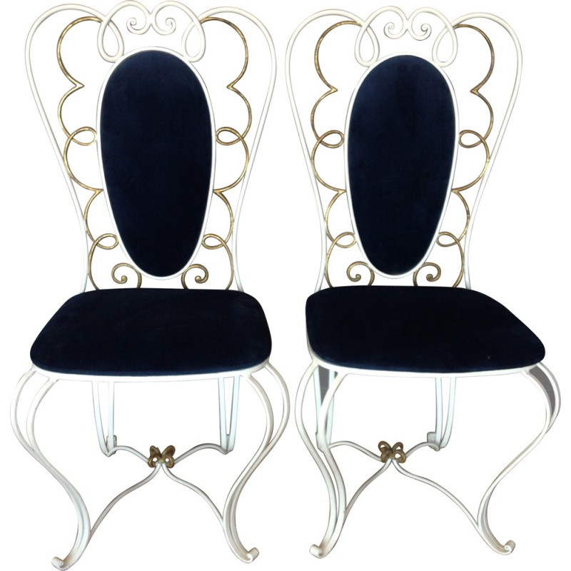 Pair Of French Chairs In Forged Iron   1950s