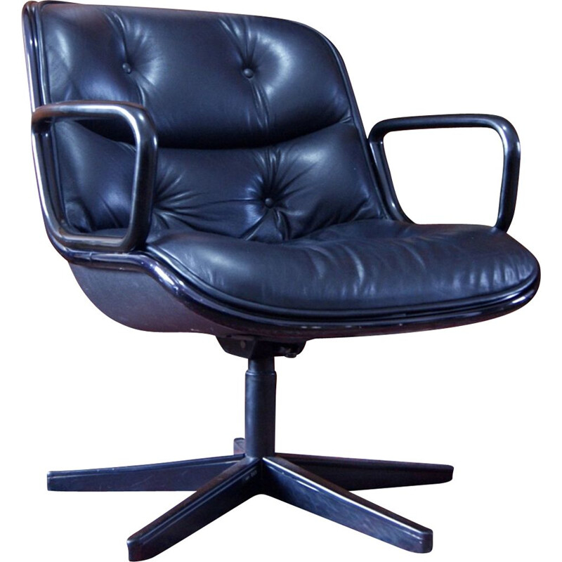 Vintage Black Leather Desk Chair by Charles Pollock for Knoll International 1970s