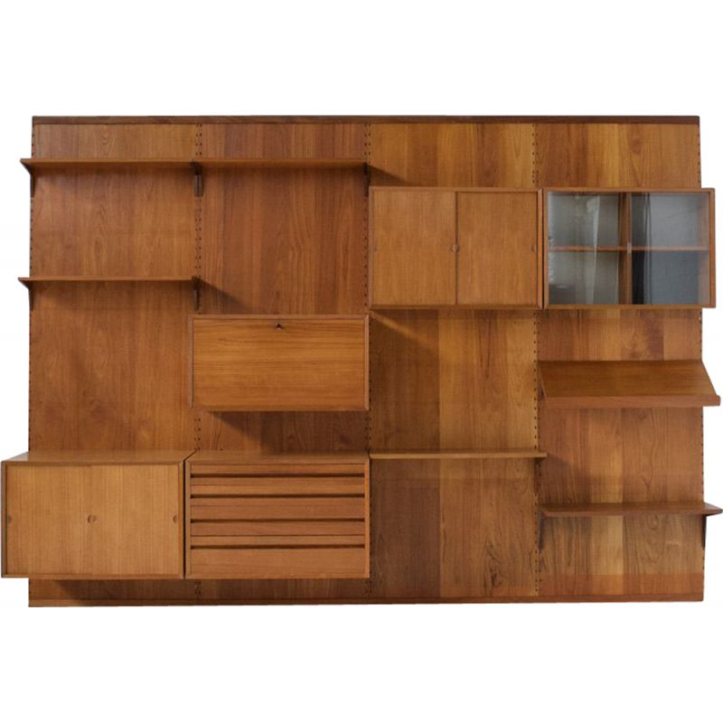 Vintage Capo teak panel movable wall system by Poul Cadovius 1950s