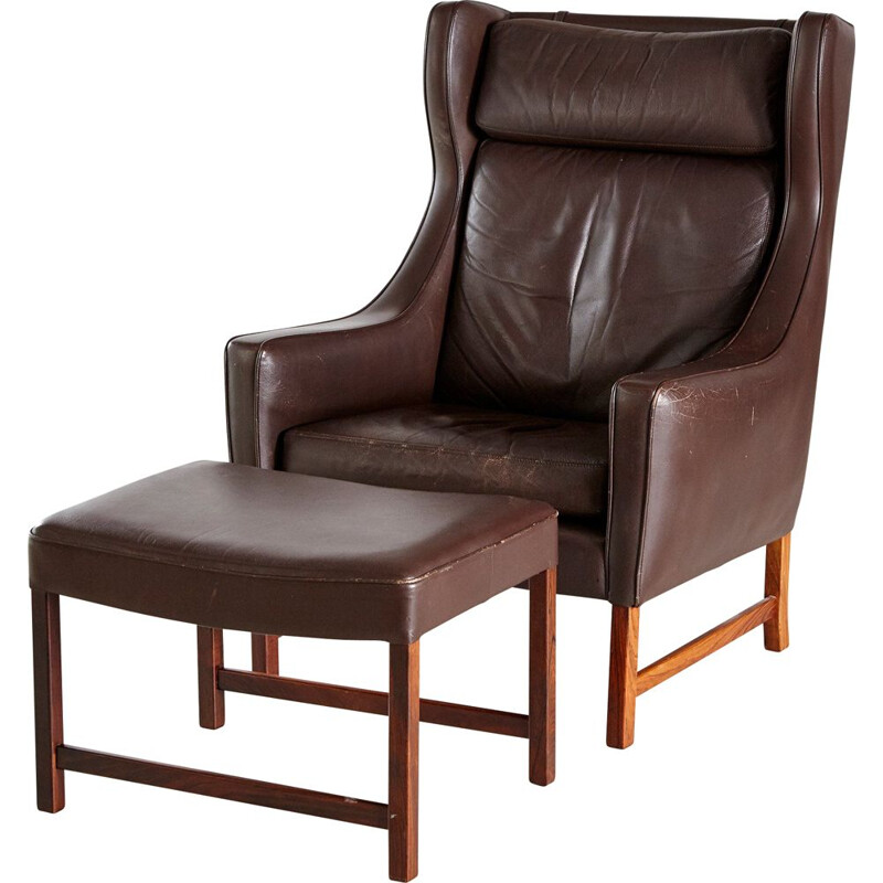 Vintage Rosewood & Leather 965H Reading Armchair & Ottoman by Fredrik A. Kayser for Vatne Mobler 1960s