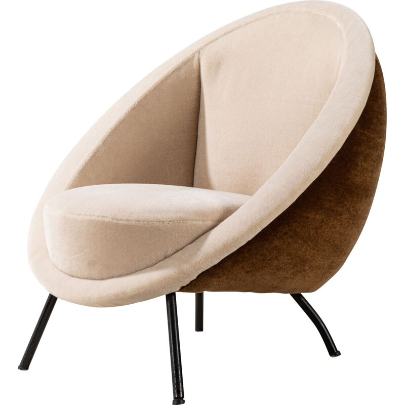 Vintage armchair by Ico Parisi in mohair velvet, Italy 1960s
