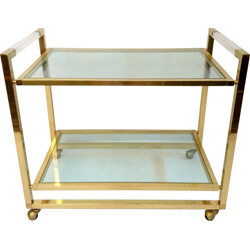 Italian kitchen trolley in brass and glass - 1970s